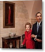 President Obama And Former First Lady Metal Print by Everett