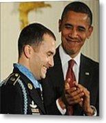 President Obama Applauds Metal Print by Everett