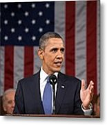 President Obama Delivers His State Metal Print by Everett