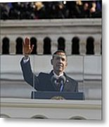 President Obama Gestures As He Delivers Metal Print