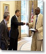 President Obama Gives A Fist-bump Metal Print