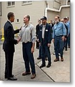 President Obama Greets Workers At Shift Metal Print