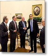 President Obama Meets With Former Metal Print
