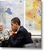 President Obama Meets With Gen. Raymond Metal Print