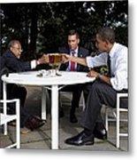 President Obama Professor Henry Louis Metal Print by Everett