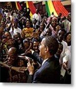 President Obama Shakes Hands Metal Print by Everett