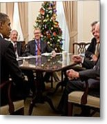 President Obama Talks With Former Metal Print