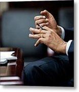 President Obamas Hands Gesture Metal Print by Everett