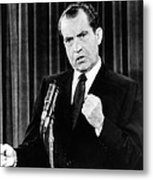 President Richard Nixon During A News Metal Print