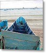 Pretty Blue Boat Metal Print