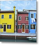 Primary Colors In Burano Italy Metal Print