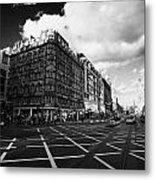 Princes Street And St David Street South With Tram Lines And Old Waverly Hotel Edinburgh Scotland Uk Metal Print by Joe Fox