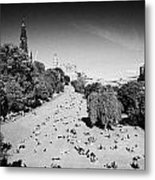 Princes Street Gardens On A Hot Summers Day In Edinburgh Scotland Uk United Kingdom Metal Print