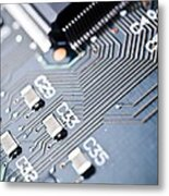 Printed Circuit Board Components Metal Print by Arno Massee