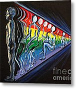 Projection With Rainbow Scroll Border Metal Print