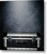 Protective Luggage Case On Stainless Steel. Metal Print