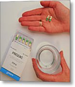 Prozac Pack With Pills In Hand And Glass Of Water Metal Print