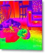 Psychedelic Doggy Love Metal Print