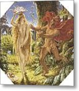 Puck And The Fairy Metal Print by Joseph Noel Paton
