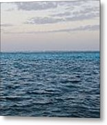 Puffy Clouds On Horizon With Caribbean Metal Print