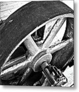 Pulley Wheel From Industrial Sawmill Metal Print by Paul Velgos