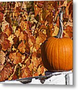 Pumpkin On White Fence Post Metal Print by Garry Gay
