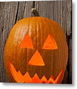 Pumpkin With Wicked Smile Metal Print