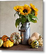 Pumpkins And Sunflowers Metal Print