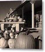Pumpkins At The Farm Market October Metal Print