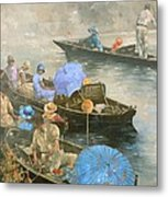 Punts On The Wey At Brooklands Metal Print