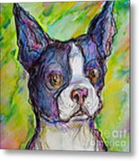 Purple Boston Terrier Metal Print