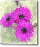 Purple Daisy Trio Watercolor Photoart Metal Print