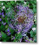 Purple Flower Sphere Metal Print