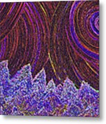 Purple Forest Moon Metal Print
