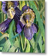 Purple Irises Metal Print by Mindy Newman