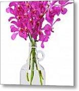 Purple Orchid In Bottle Metal Print by Atiketta Sangasaeng