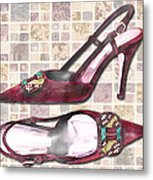 Purple Pumps On Terrazzo Tiles Metal Print