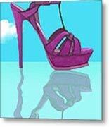 Purple Stilt Stilettos Reflections Metal Print