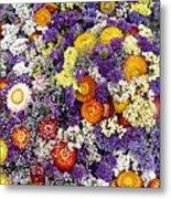 Purple Yellow Orange White Cut Flowers Metal Print