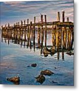Pylons In Humboldt Bay Metal Print