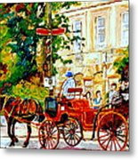 Quebec City Street Scene The Red Caleche Metal Print