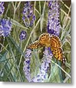 Queen Of Spain Fritillary And Lavender II Metal Print