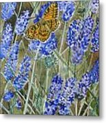 Queen Of Spain Fritillary And Lavender Metal Print