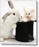 Rabbit And Kitten In Top Hat Metal Print