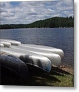 Racks Of Canoe's On Bear Pond Lake In The Adirondacks Ny Metal Print