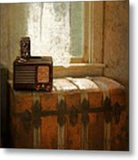 Radio And Camera On Old Trunk Metal Print