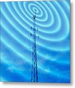 Radio Mast With Radio Waves Metal Print