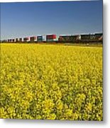Rail Cars Carrying Containers Passe Metal Print