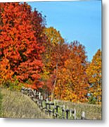Rail Fence In Fall Metal Print by Peg Runyan