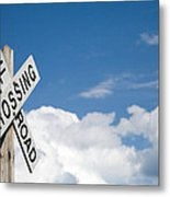 Railroad Crossing Sign Metal Print